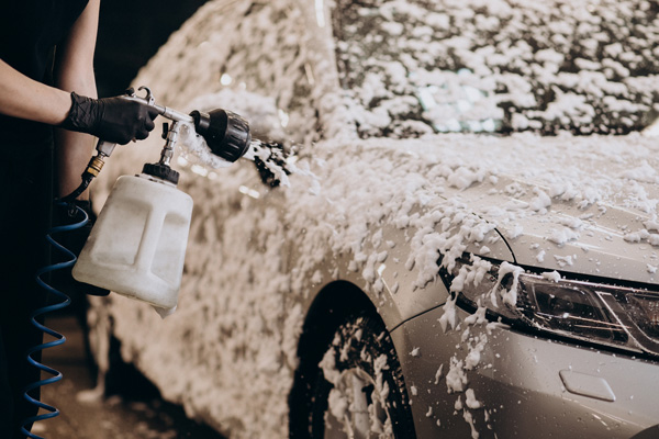 car detailing with foam washing
