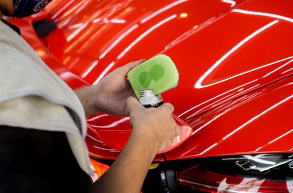 polishing premium car using wax